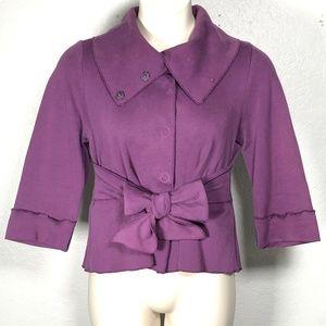 Luii XL Purple Car Coat Front Tie Fold over Collar